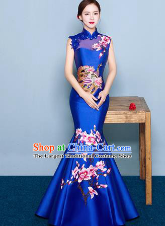 Chinese Traditional Elegant Magnolia Qipao Dress Classical Costume Royalblue Cheongsam for Women