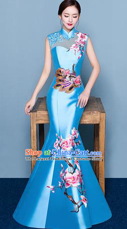 Chinese Traditional Elegant Magnolia Qipao Dress Classical Costume Blue Cheongsam for Women
