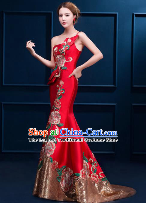 Chinese Traditional Elegant Trailing Qipao Dress Classical Costume Red Cheongsam for Women