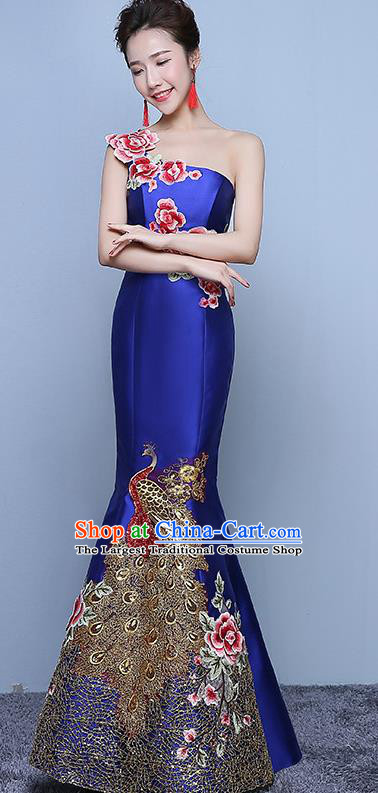 Chinese Traditional Embroidered Peony Royalblue Qipao Dress Classical Costume Elegant Cheongsam for Women