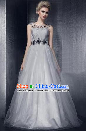 Top Stage Show Chorus Costumes Catwalks Compere Grey Veil Full Dress for Women