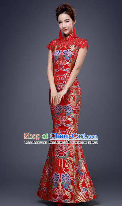 Chinese Traditional Wedding Red Qipao Dress Classical Costume Elegant Cheongsam for Women