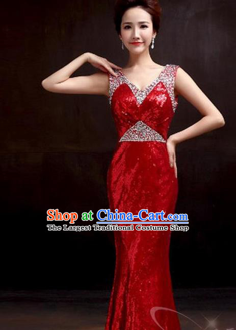 Top Stage Show Chorus Costumes Catwalks Compere Red Paillette Full Dress for Women