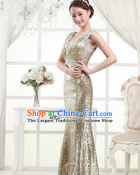Top Stage Show Chorus Costumes Catwalks Compere Light Golden Paillette Full Dress for Women