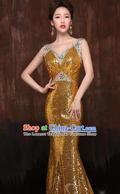 Top Stage Show Chorus Costumes Catwalks Compere Golden Paillette Full Dress for Women