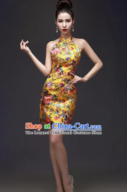 Chinese Traditional Yellow Short Qipao Dress Classical Costume Elegant Cheongsam for Women