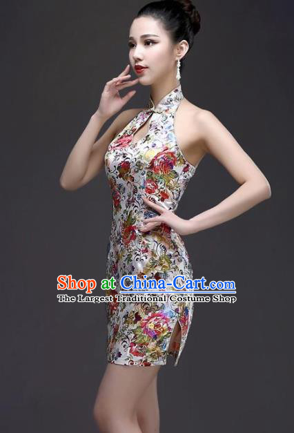 Chinese Traditional White Short Qipao Dress Classical Costume Elegant Cheongsam for Women