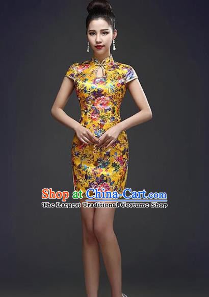 Chinese Traditional Qipao Dress Classical Costume Elegant Yellow Short Cheongsam for Women