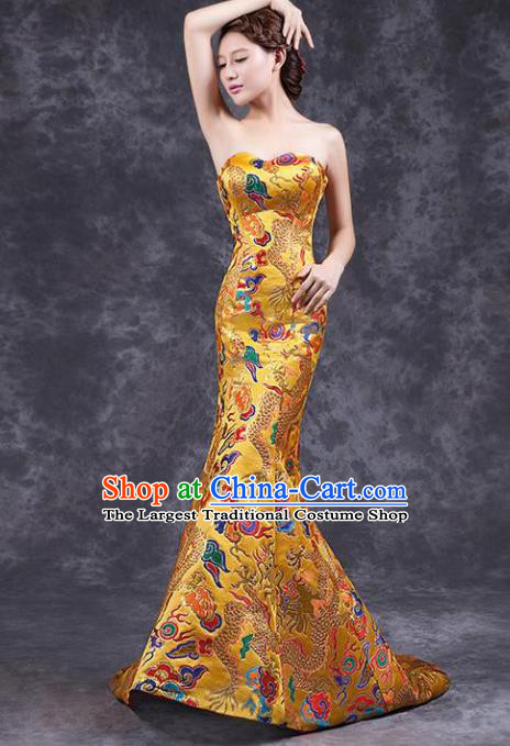 Chinese Traditional Costume Classical Qipao Dress Elegant Embroidered Dragon Golden Cheongsam for Women