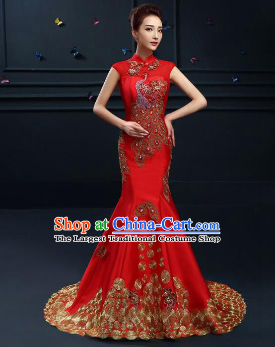 Chinese Traditional Elegant Wedding Qipao Dress Classical Costume Red Mermaid Cheongsam for Women