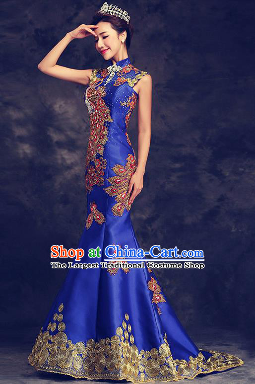 Chinese Traditional Elegant Wedding Qipao Dress Classical Costume Royalblue Mermaid Cheongsam for Women