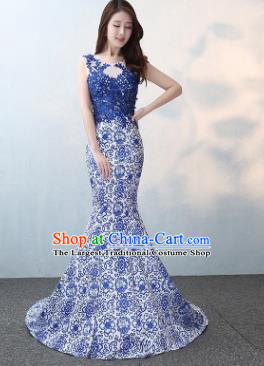 Chinese Traditional Elegant Blue Lace Qipao Dress Classical Costume Mermaid Cheongsam for Women