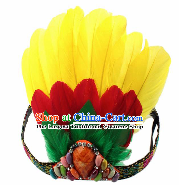 Top Halloween Yellow Feather Dance Hair Accessories Carnival Catwalks Hair Clasp for Kids