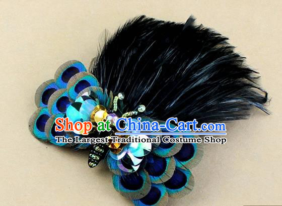 Top Rio Carnival Black Feather Bowknot Hair Accessories Halloween Catwalks Dance Hair Claw for Women