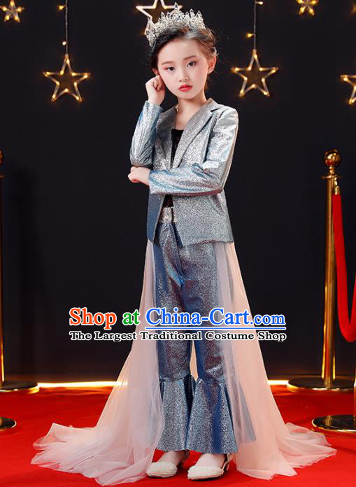 Top Modern Dance Costume Children Opening Dance Compere Performance Suits for Girls Kids
