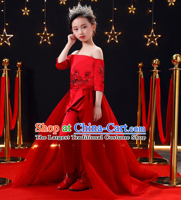 Top Modern Dance Costume Children Opening Dance Compere Performance Red Full Dress for Girls Kids
