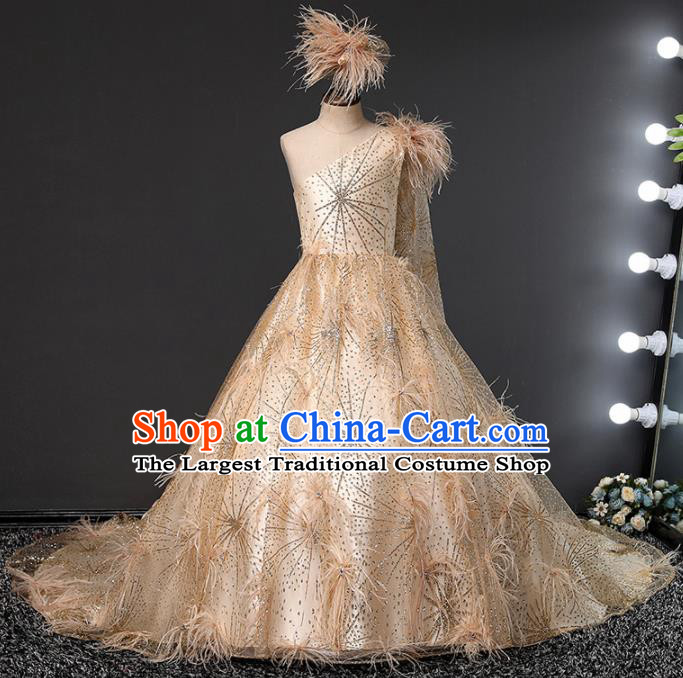 Children Modern Dance Costume Opening Dance Compere Catwalks Performance Champagne Full Dress for Girls Kids