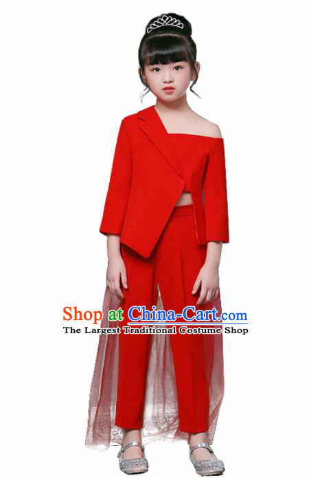 Children Modern Dance Costume Opening Dance Compere Catwalks Performance Red Suits for Girls Kids
