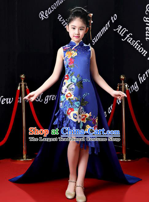 Children Modern Dance Costume Opening Dance Compere Catwalks Royalblue Qipao Dress for Girls Kids