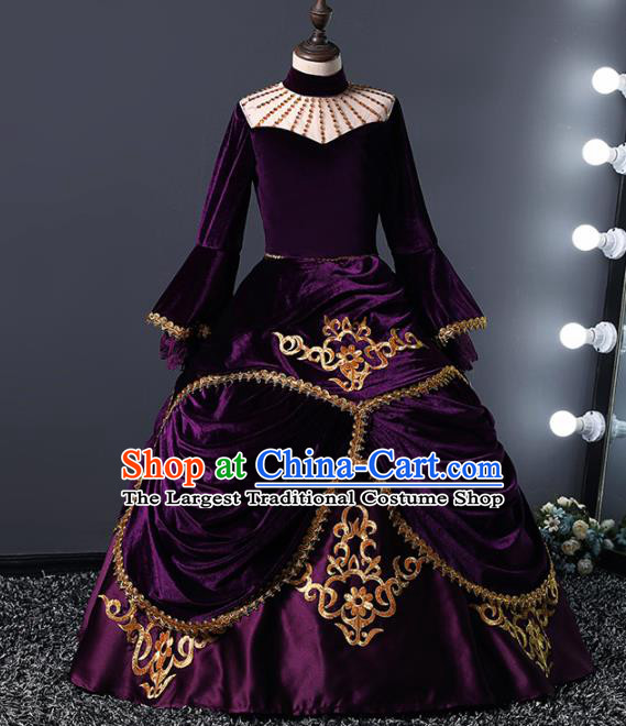 Children Modern Dance Costume Court Dance Compere Catwalks Purple Full Dress for Girls Kids