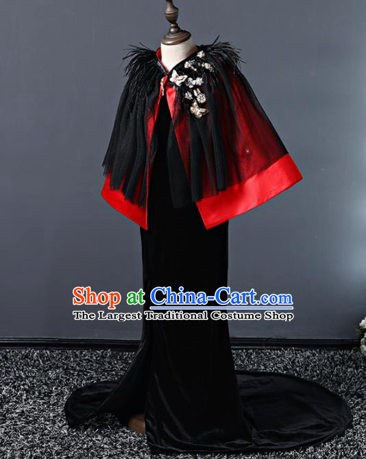Children Modern Dance Costume Court Dance Compere Halloween Catwalks Full Dress for Girls Kids