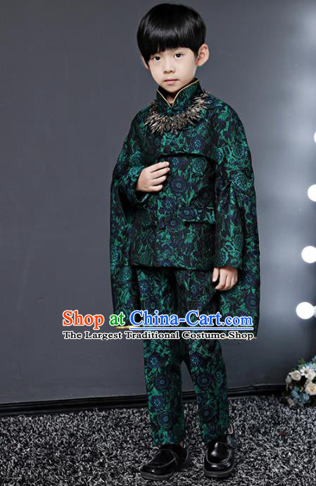 Children Modern Dance Costume Compere Halloween Catwalks Green Suits for Kids