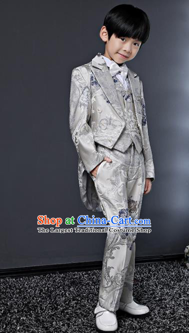 Children Modern Dance Costume Compere Halloween Catwalks Grey Suits for Kids