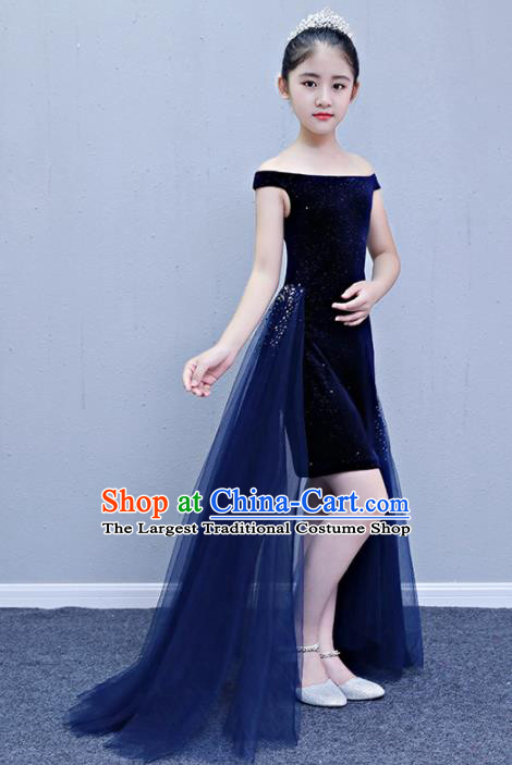 Children Modern Dance Costume Court Dance Compere Blue Full Dress for Girls Kids