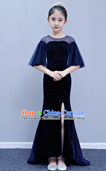 Children Modern Dance Costume Court Dance Compere Blue Trailing Full Dress for Girls Kids