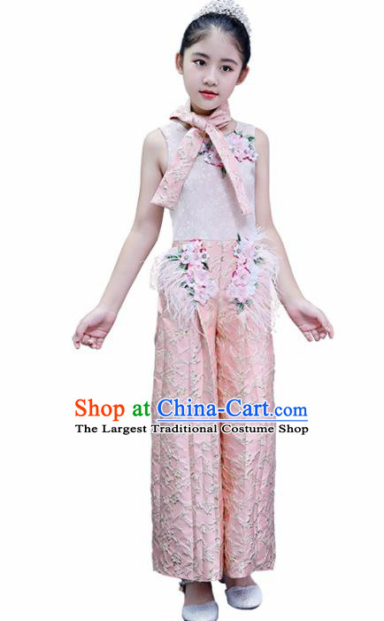 Children Modern Dance Costume Court Dance Compere Pink Clothing for Girls Kids