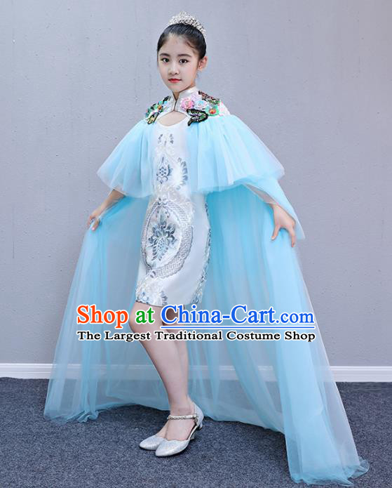 Children Modern Dance Costume Court Dance Compere Blue Veil Full Dress for Girls Kids