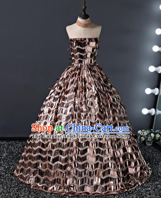 Children Modern Dance Costume Court Dance Compere Golden Sequins Full Dress for Girls Kids
