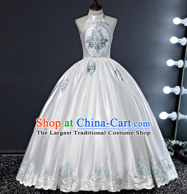 Children Modern Dance Costume Court Dance Compere White Silk Full Dress for Girls Kids