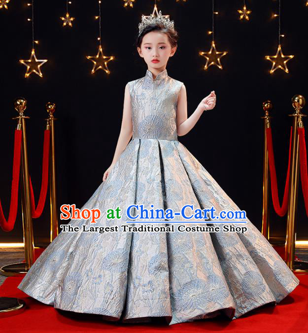 Children Modern Dance Costume Opening Dance Compere Catwalks Performance Full Dress for Girls Kids