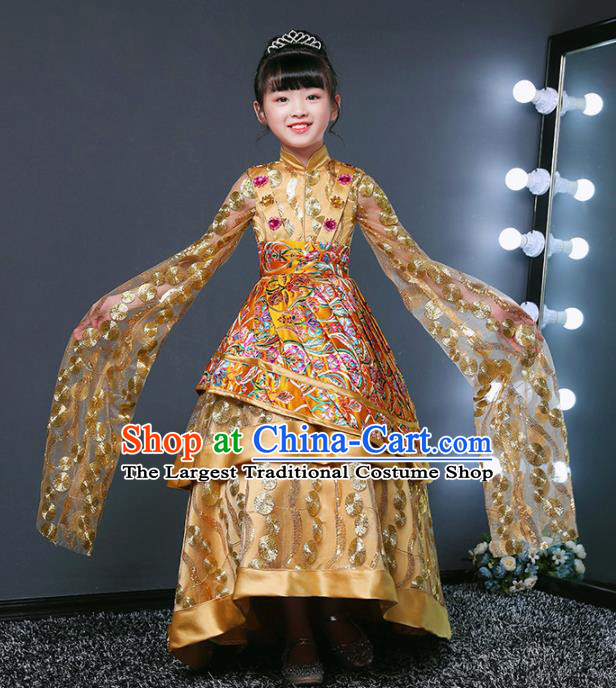 Children Modern Dance Costume Opening Dance Compere Catwalks Performance Golden Full Dress for Girls Kids
