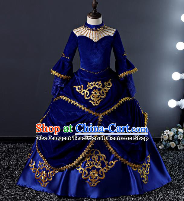 Children Modern Dance Costume Court Dance Compere Royalblue Full Dress for Girls Kids