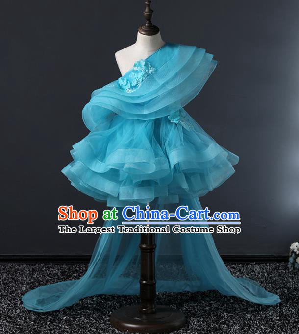Children Modern Dance Costume Stage Performance Compere Blue Veil Trailing Full Dress for Girls Kids