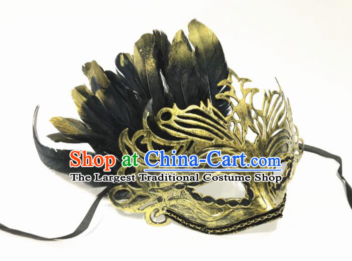 Top Halloween Cosplay Feather Golden Masks Brazilian Carnival Catwalks Fancy Dress Ball Face Mask for Men