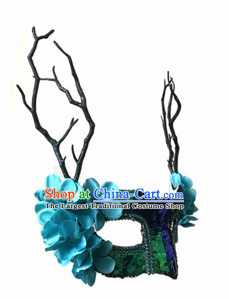 Top Fancy Dress Ball Blue Flowers Sequins Masks Brazilian Carnival Halloween Cosplay Face Mask for Women