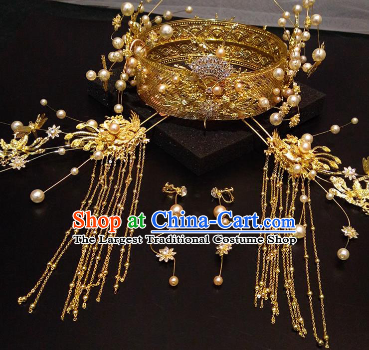Top Chinese Traditional Hair Accessories Classical Golden Phoenix Coronet Hairpins Headdress for Women