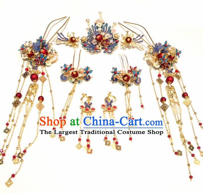Top Chinese Traditional Wedding Blueing Phoenix Coronet Classical Hairpins Headdress for Women