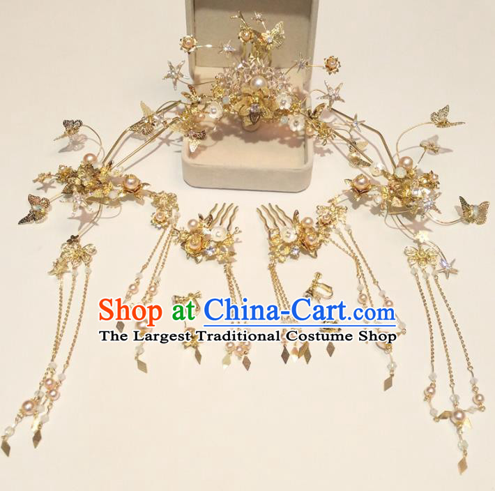 Top Chinese Traditional Wedding Phoenix Coronet Hair Combs Classical Hairpins Headdress for Women