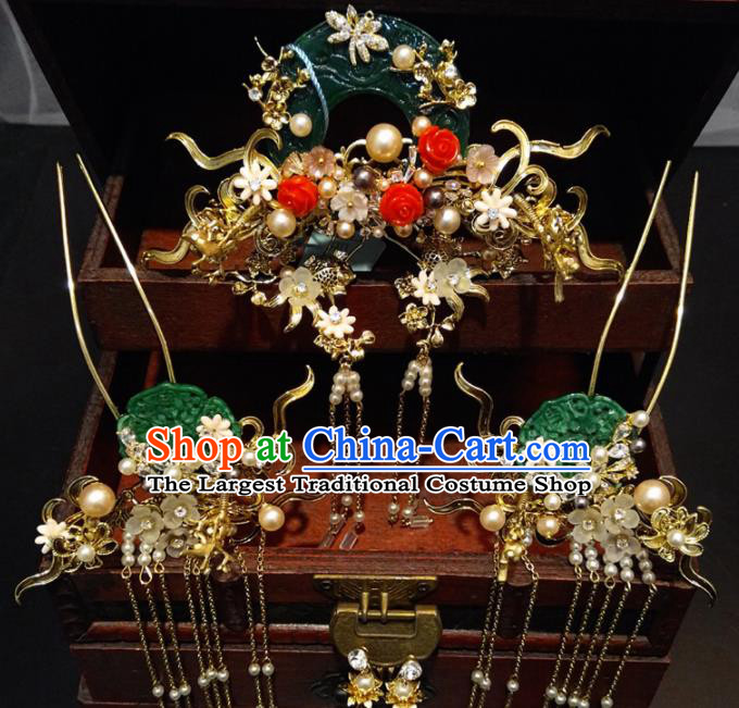 Top Chinese Traditional Wedding Jade Phoenix Coronet Classical Hairpins Headdress for Women