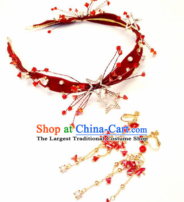 Top Chinese Traditional Hair Accessories Classical Wedding Red Hair Clasp for Women