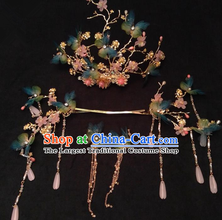 Top Chinese Traditional Wedding Blue Butterfly Phoenix Coronet Classical Hairpins Headdress for Women