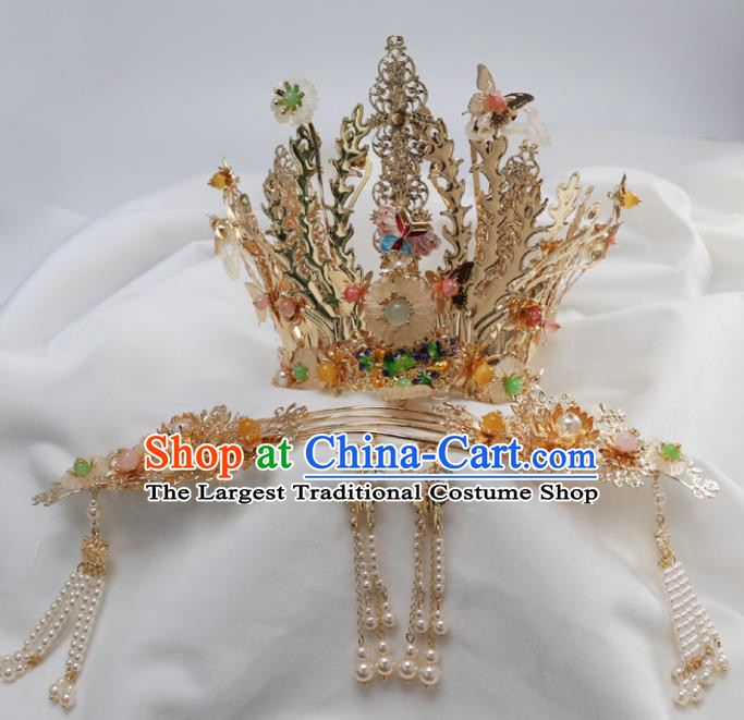 Top Chinese Traditional Wedding Phoenix Coronet Hair Accessories Ancient Palace Hairpins Complete Set for Women