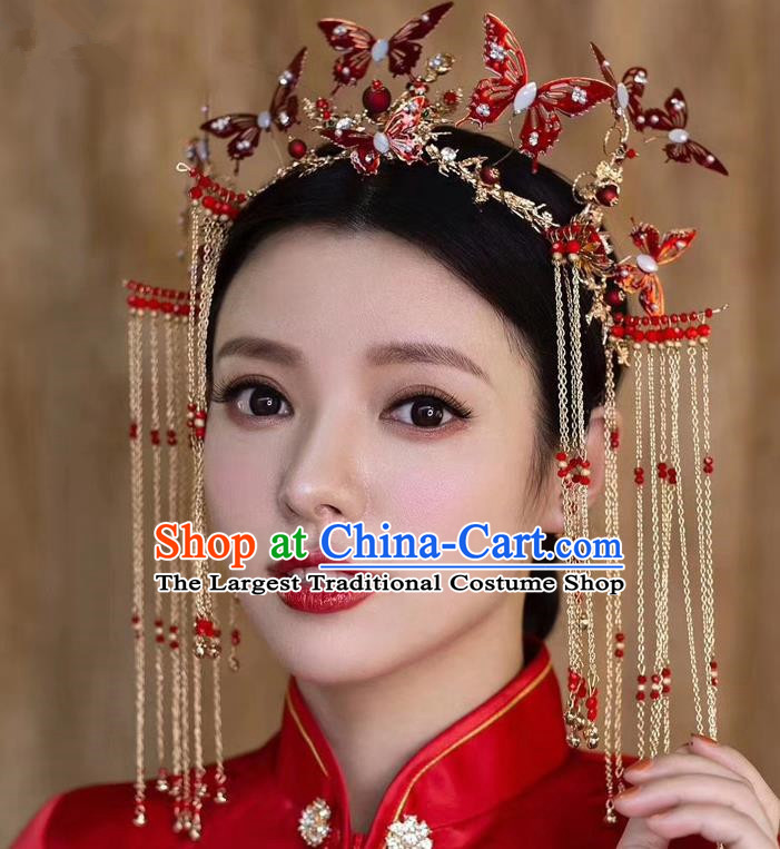 Top Chinese Traditional Wedding Red Butterfly Phoenix Coronet Hair Accessories Ancient Palace Hairpins Complete Set for Women