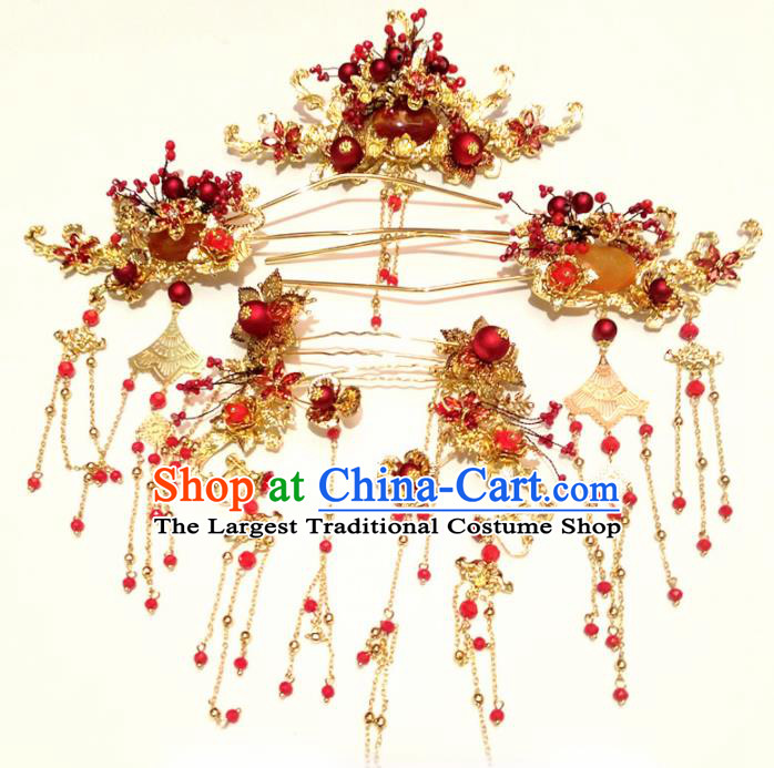 Top Chinese Traditional Wedding Hair Crown Hair Accessories Ancient Palace Hairpins Complete Set for Women