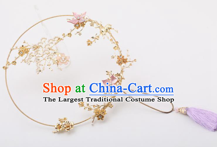 Chinese Traditional Wedding Accessories Classical Bride Purple Tassel Palace Fans for Women