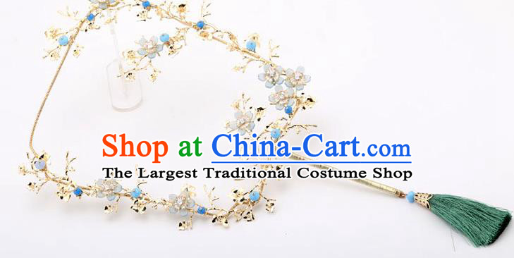 Chinese Traditional Wedding Accessories Classical Bride Green Tassel Palace Fans for Women